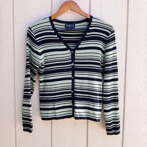 Finity Cardigan Y2K Button Striped Lime Green Knit